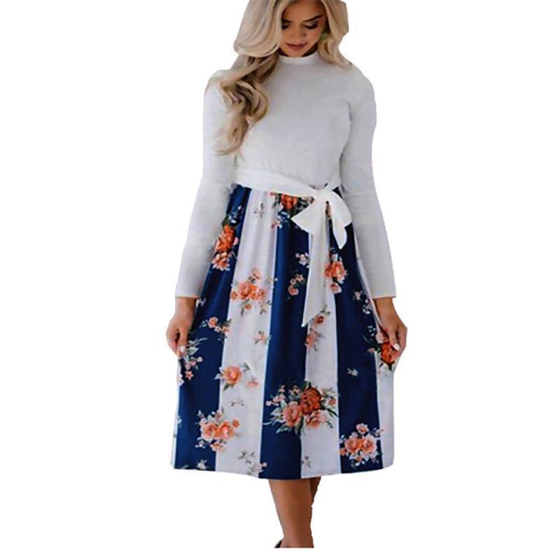 093c5a8411 Compre Vestidos Mujer Nuevo Llega 2019 Otoño Invierno Moda Rayas Floral  Impreso Vestido De Mujer Casual Lace Up Pockets Vestido De Manga Larga A   34.39 Del ...