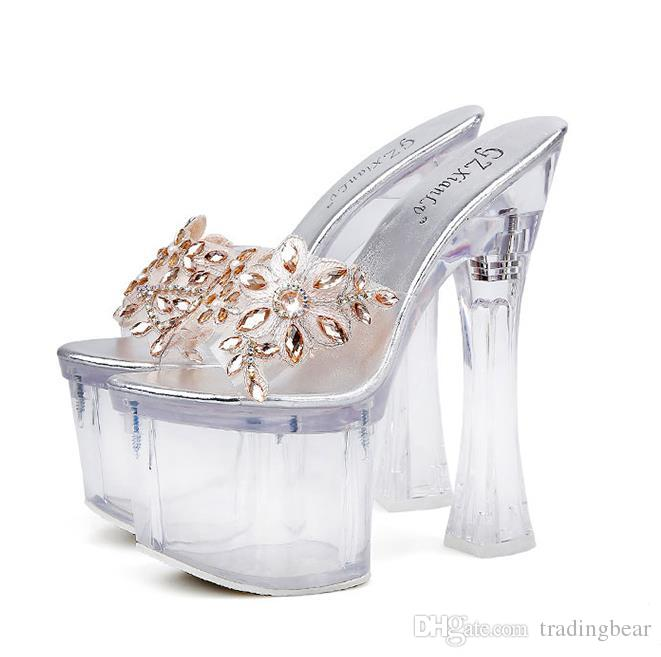 18cm Luxury gold crystal flower platform ultra high heels sandals bride designer shoes size 34 to 39