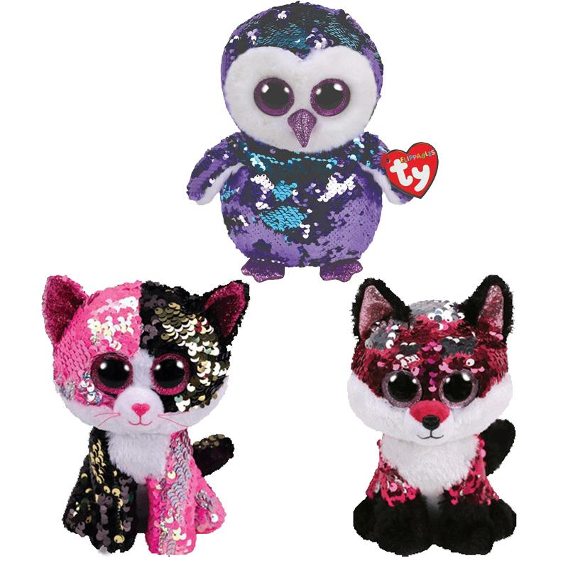 a0c7e119f90 2019 Ty Beanie Boos Sequin Animal Plush Toys Doll Cat Owl Fox Bunny Unicorn  Best Christmas Gift 15cm From Thunderwest
