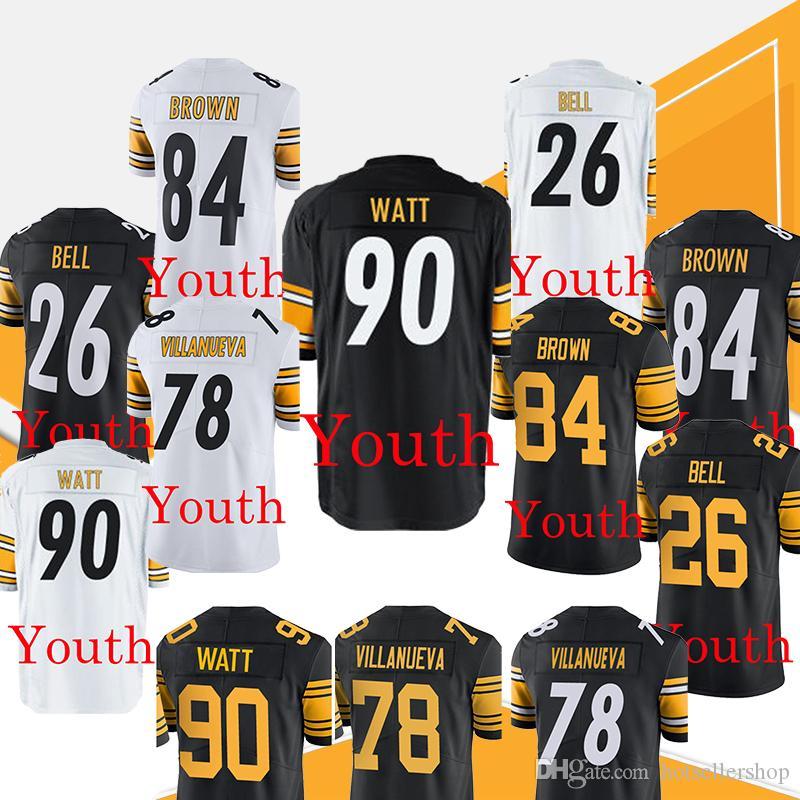 632bfe3a3 Compre Jóvenes De Steelers Pittsburgh Jersey James Conner 30 90 T.J. Watt 84  Antonio Brown 26 Veon Bell 78 Alejandro Villanueva Color Rush Jerseys A   23.13 ...