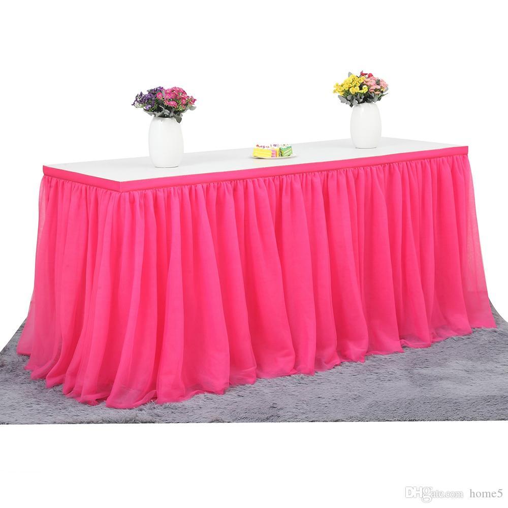 0a21e2393 Tabla de falda de varios colores vajilla de tela de boda tutu tul falda de  mesa fiesta de la ducha del bebé decoración del hogar mesa bordeando ...