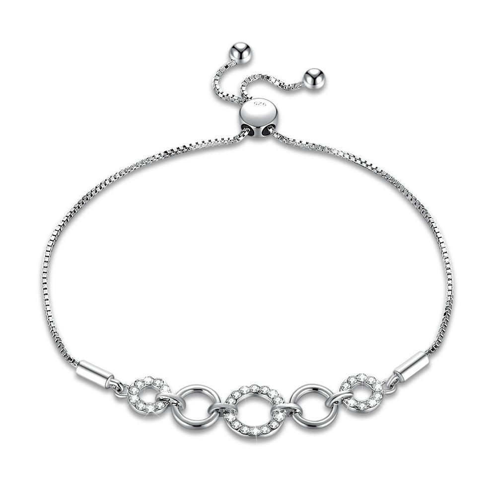fed6ce717 2019 Adjustable Bracelets Platinum Plated Rounds Pattern Bezel Setting  Mosaic Crystal S925 Sterling Silver Link Chain Bracelet Gifts POTALA240  From ...