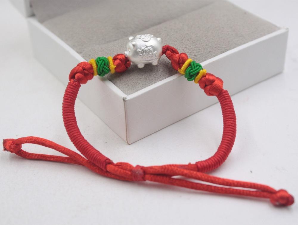 53037898d069 Pulsera de plata esterlina S925 Loving Pig Cuerda roja de punto tejido de  color para mujeres hombres moda 6.3 pulgadas Luck Pig año