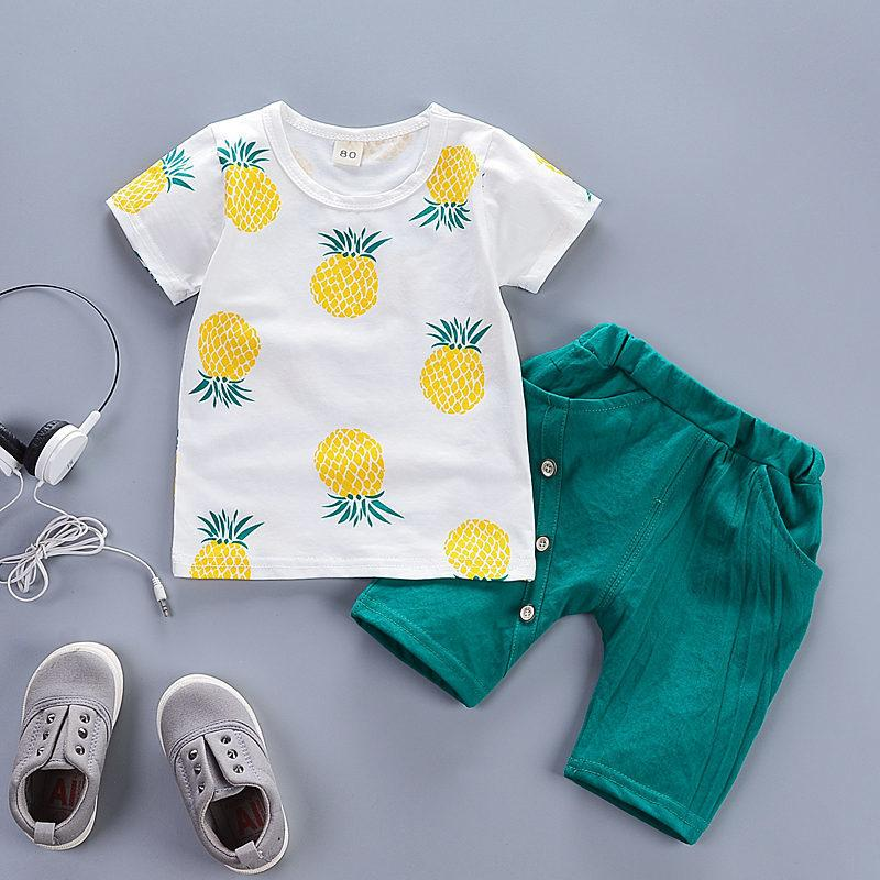 a165599e8e 2019 Good Quality 2019 Summer Baby Boy Clothes Set Children Cartoon  Pineapple Print Clothing Suit Infant Casual Tshirt+Shorts Set From  Superbest18