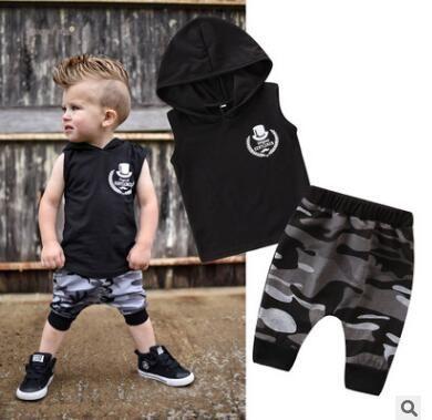 f51eb08423f1c Kids Designer Clothes Boys 2PCS Outfit Set 2019 Summer Infant Toddler Baby  Boys Sleeveless Hooded Vest Tops Camouflage Harem Shorts Pant Set