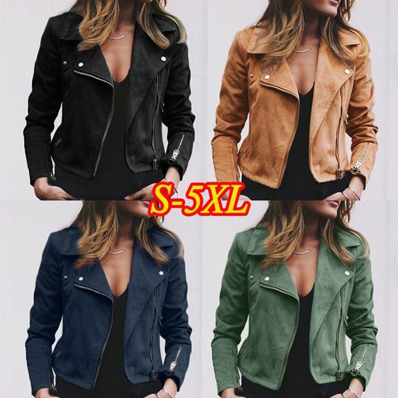 7b1568799 Women s Moto Suede Faux Leather Aviator Jacket Black Short Sheepskin Bomber  Female Coat Add Shrug Plus Size 5XL Biker Jackets