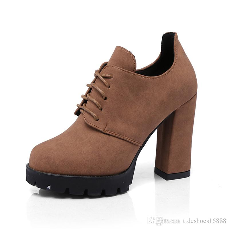 be6989d29a0 Thick Heels Lace Up Pumps Women Shoes Platform High Heels 2019 Spring  Fashion British Style Round Toe Ladies Work Heels Birkenstock Shoes Brown  Dress Shoes ...