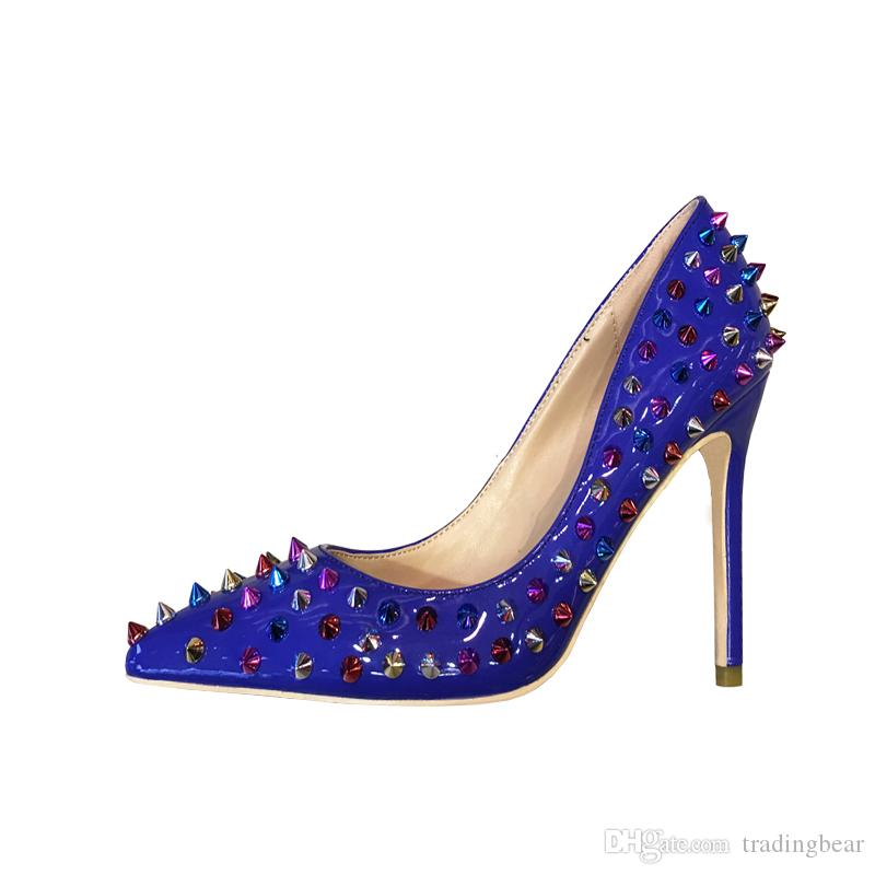 Plus size 34 to 40 41 42 red bottom heel blue rivets spike high heels office shoes designer pumps designer shoes come with logo and box