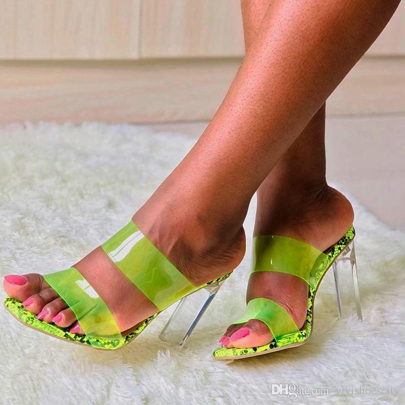 Artı boyutu 35-40 41 42 fluorecent Yeşil PVC Şeffaf Topuk Katır Gümüş Şeffaf Ayakkabı Kutusu ile gel