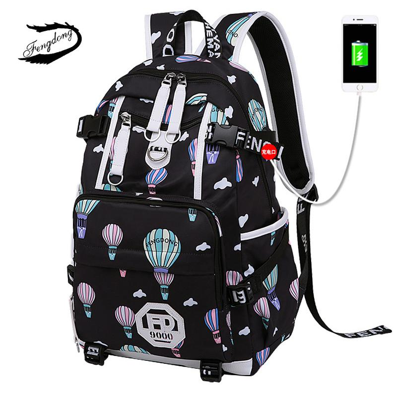 2b1f06f3cd FENGDONG Woman Cute Printing Nylon Bookbag USB Charging Travel Laptop Backpack  Durable School Bag For Teenage Kids Work Bagpack Osprey Backpacks Book Bags  ...