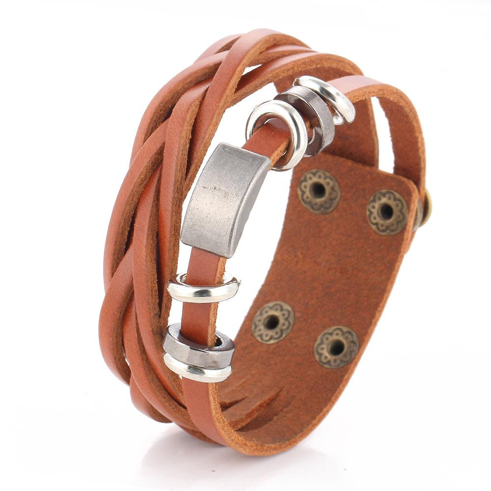 75fadaf39004f Black Leather bracelet Men's multi-layer Men Charm bracelet women's retro  punk casual male jewelry accessories