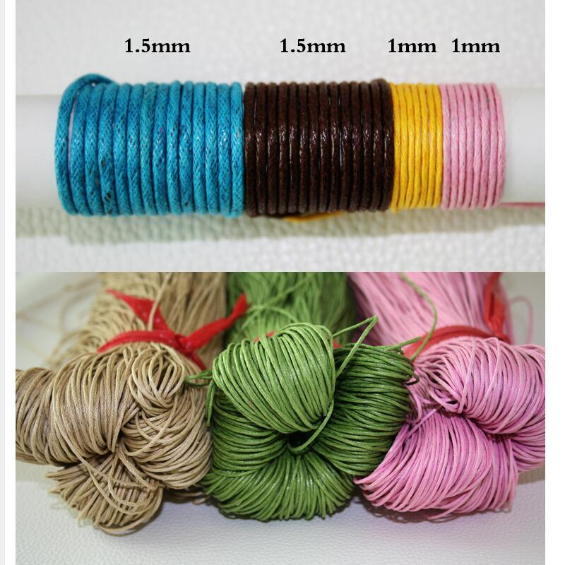 60 meters/lot,1MM diameter Thread Cotton Waxed Cord String Strap Necklace Rope Bead jewelry findings for DIY Bracelet