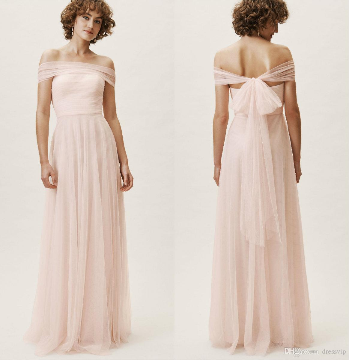 0ebb1828ed0 2019 BHLDN Bridesmaid Dresses Strapless Tulle Sleeveless Floor Length Light  Pink Formal Occasion Gowns Cheap Evening Prom Dress Blue Junior Bridesmaid  ...
