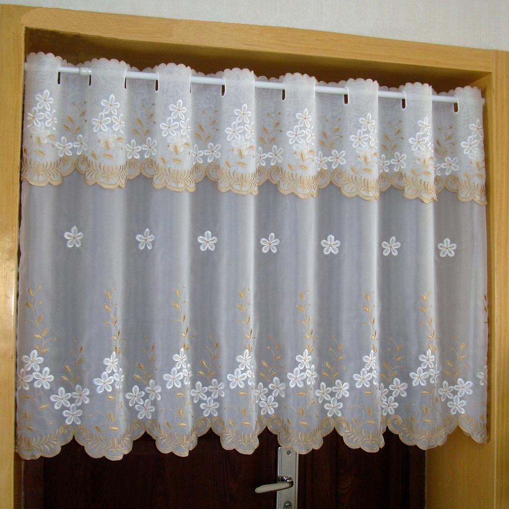 Countryside Simple Half-curtain White Openwork Lace Flower Coffee Curtain  Embroidery Hem Tulle Curtain for Kitchen Cabinet Door