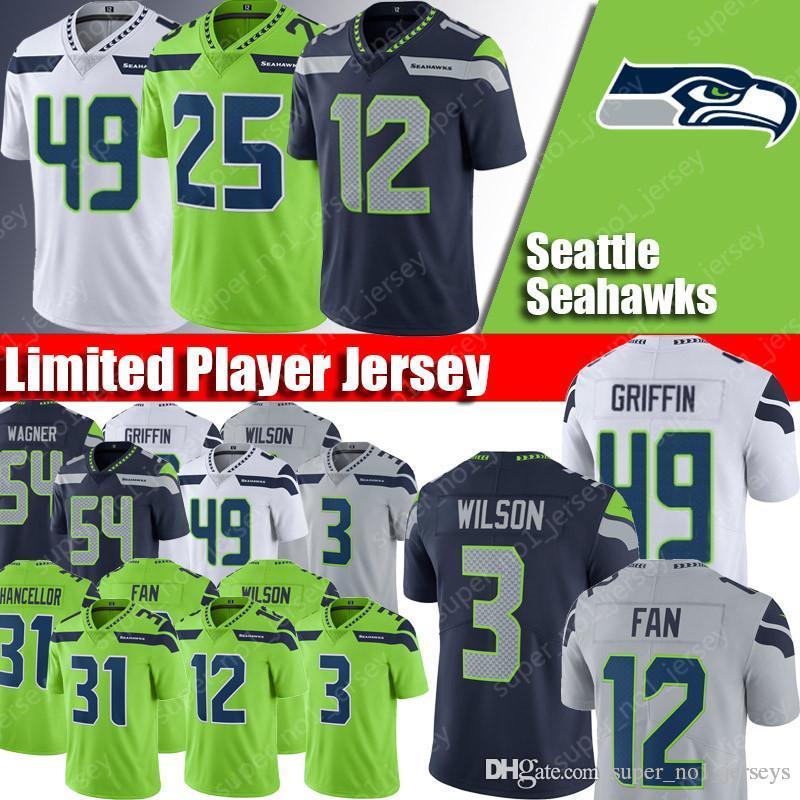 hot sale online 0c578 67499 Seattle Seahawks jerseys 3 Russell Wilson jerseys 14 DK Metcalf jerseys 54  Bobby Wagner jersey 12 12th Fan 31 Kam Chancellor 49 Griffin