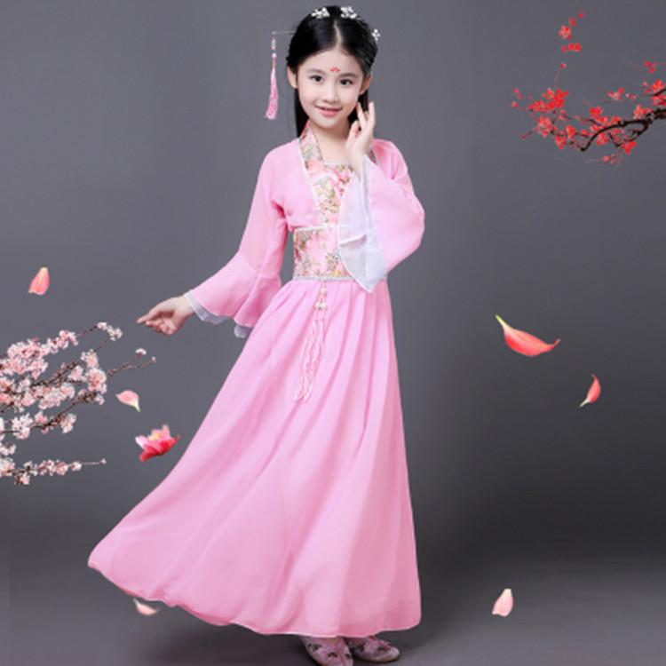 girls traditional ancient chinese costume chinese traditional tang hanfu dress child clothing cosplay fairy dance kids children