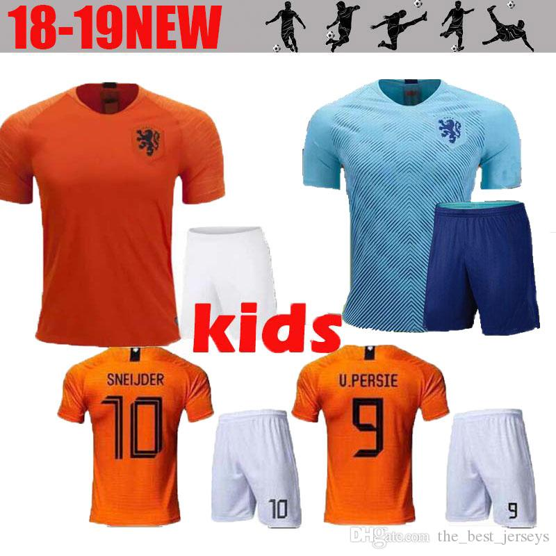 56ff41037 2019 2020 KIDS KIT Netherlands Soccer Jersey Home 18 19 European National  League Away Virgil V.PERSIE SNEIJDER MEMPHIS CHILD Football Shirt  Netherlands ...
