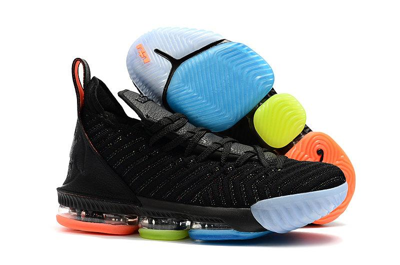 pretty nice 2ece1 9ab81 Cheap Mens LeBRon 16 Basketball Shoes for Sale Promise Black Multi Color  Boys Girls Youth Kids Sneakers Tennis Size US4-12