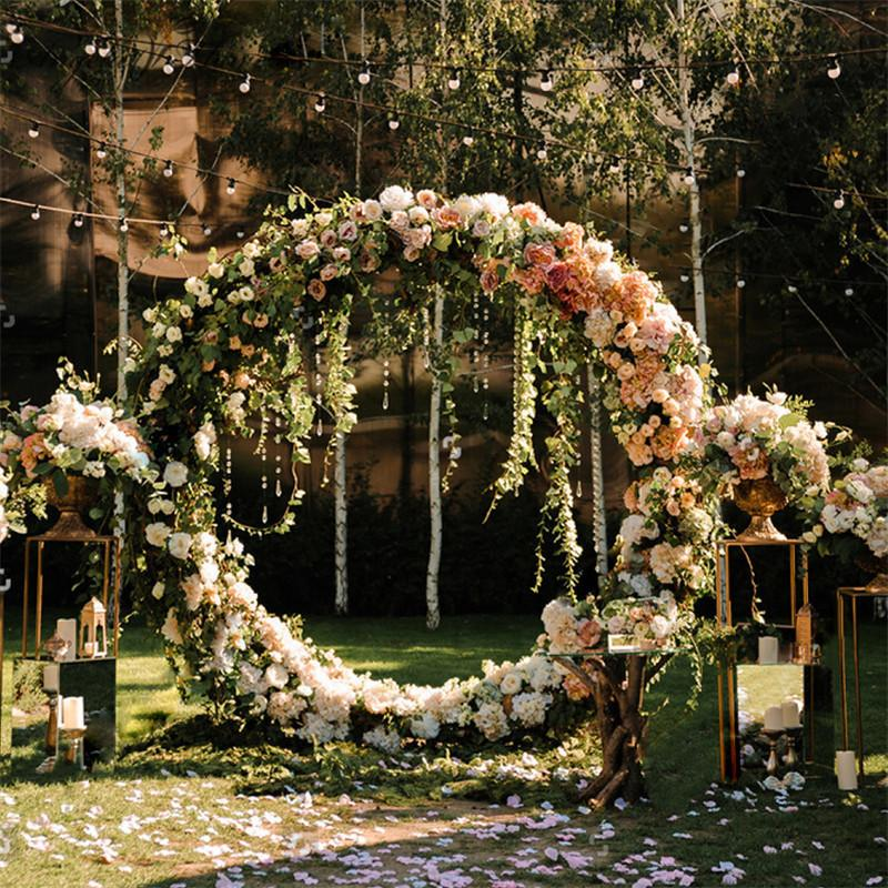 2019 Customized 210 170 130cm Artificial Flower With Metal Arch