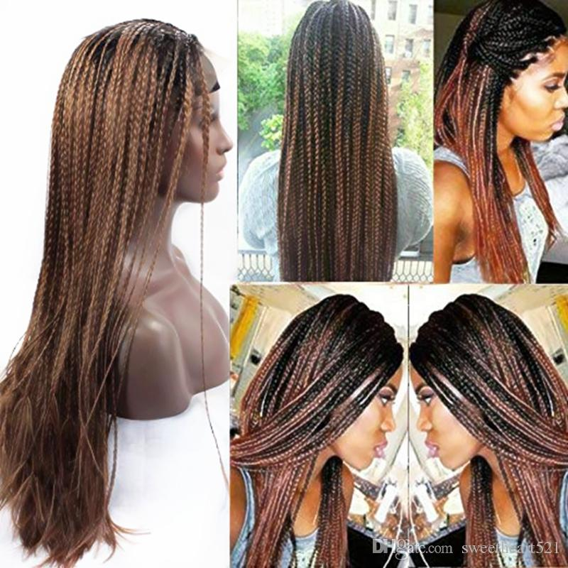 Micro Braided 2 Tone 1B/30 Synthetic Lace Front Wigs Heat Resistant Black Root Ombre Medium Auburn Color Lace Wig with Baby Hair