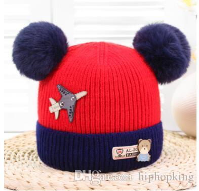 dccdc981391db0 Winter Kids Pom Pom Hats Cute Bear Ear Beanie Fleece Cap Children Skullies  Beanies Crochet Woolen Warm Caps Baby Cotton Knit Hat Trucker Hats Winter  Hats ...