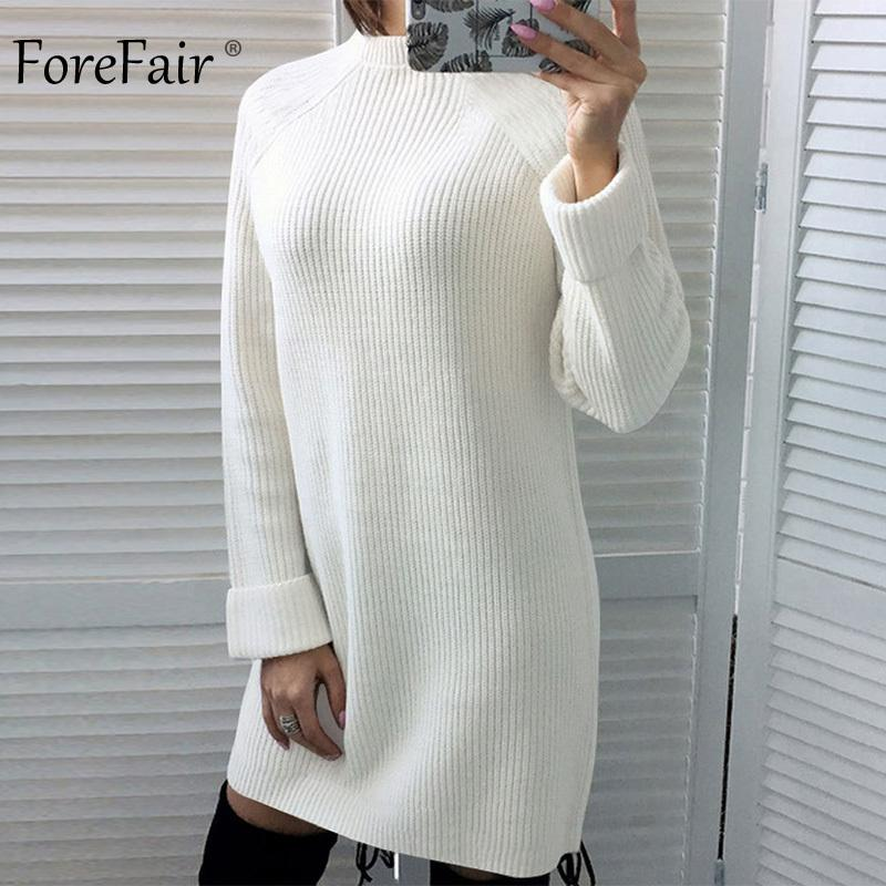 0ece307acec 2019 Forefair Winter Sexy Sweater Dress Women Autumn Warm Plus Size Casual  Turtleneck White Red Black Long Sleeve Knitted Dress 2018 Y190425 From  Gou02