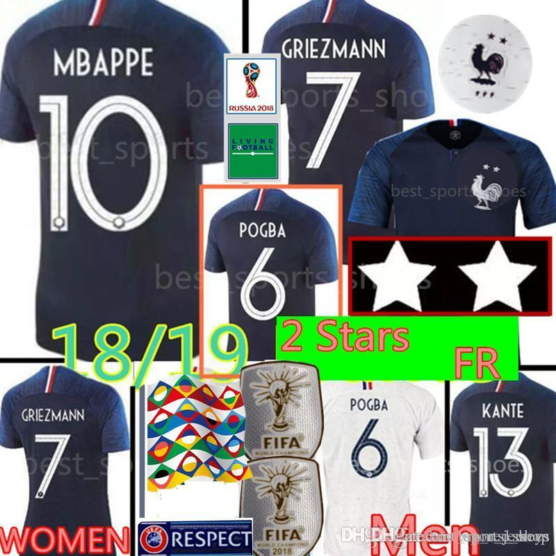 new products 85794 30aaa 2 Stars GRIEZMANN #7 MBAPPE #10 POGBA #6 soccer jerseys World Cup Soccer  Jersey PAYET #8 DEMBELE #11 GIROUD KANTE THAUVIN football shirt