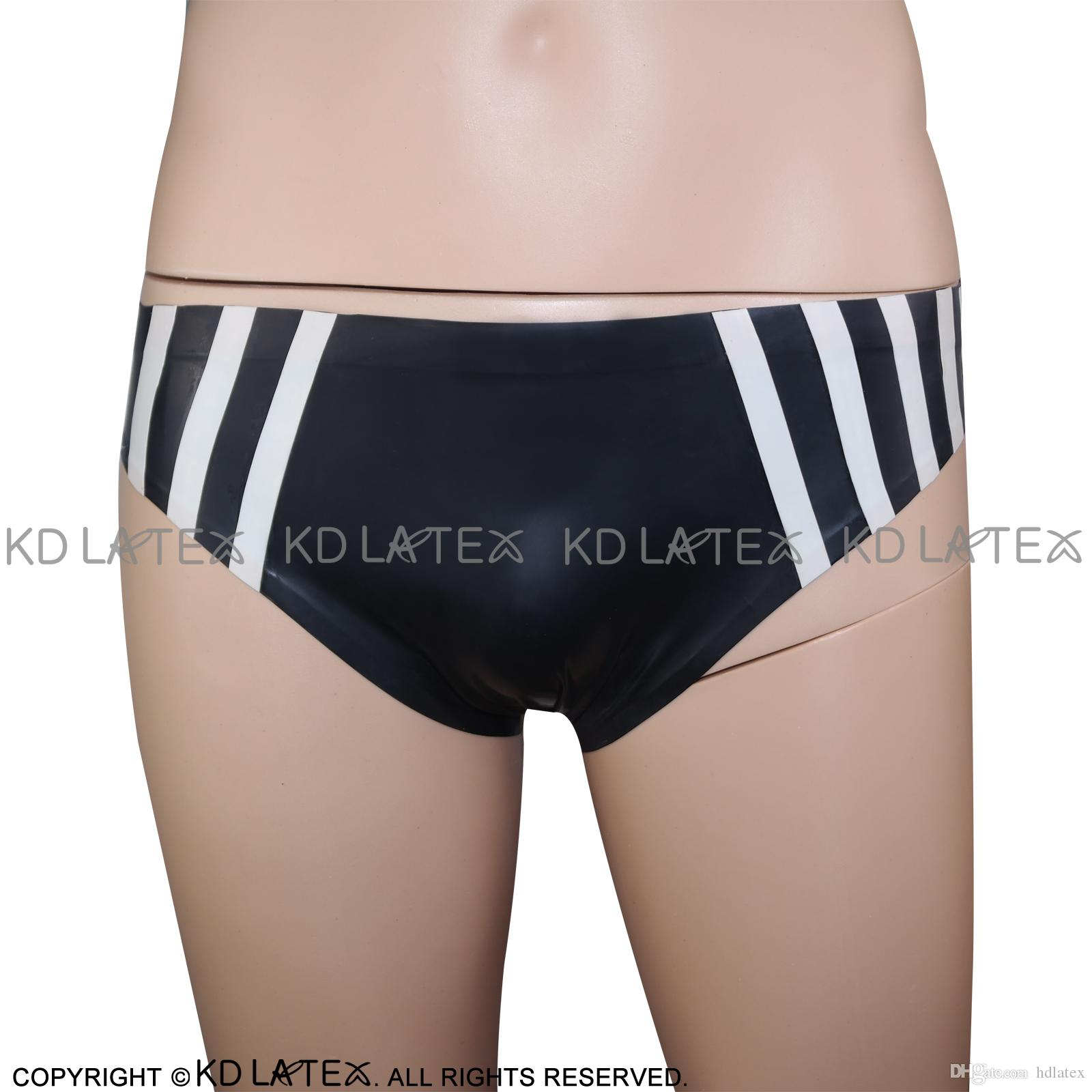 Black With White Sexy Latex Brifes With Trims At Two Sides Fetish Rubber Panties Shorts Underpants Underwear Bondage Pants DK-0076