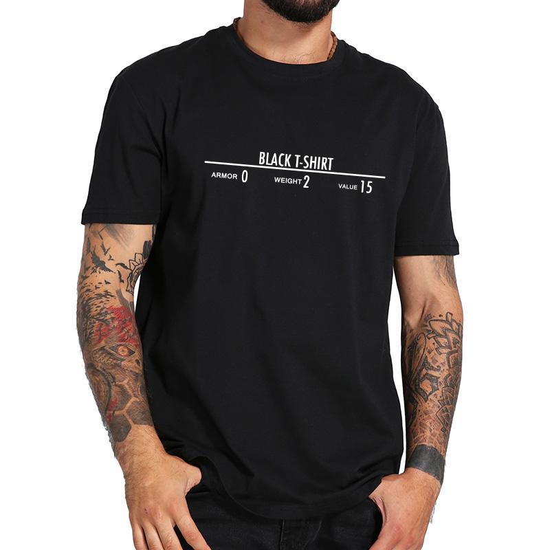 ffaddcbe Skyrim Tshirt Funny Game Inspire Legendary Black T Shirt Men 100% Cotton  Armor Weight Value Player Shirts Eu Size T Shirt Shirt Awesome T Shirts For  Guys ...
