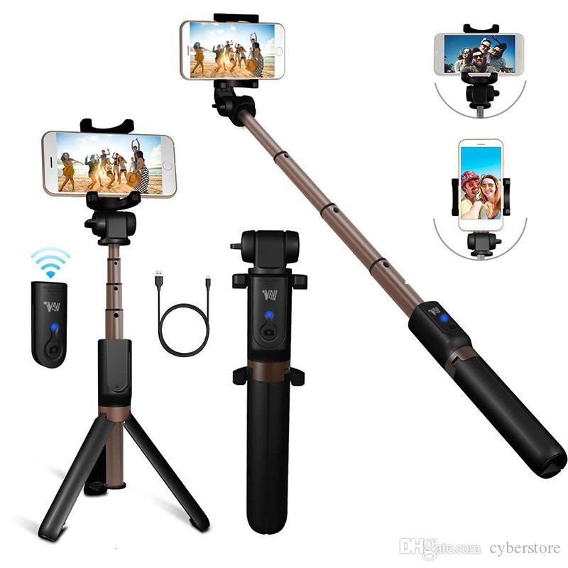 Bluetooth Extendable Selfie Stick with Wireless Remote Shutter Monopods Tripod Stand for iPhone Samsung S10 Huawei Xiaomi Phone Smartphones