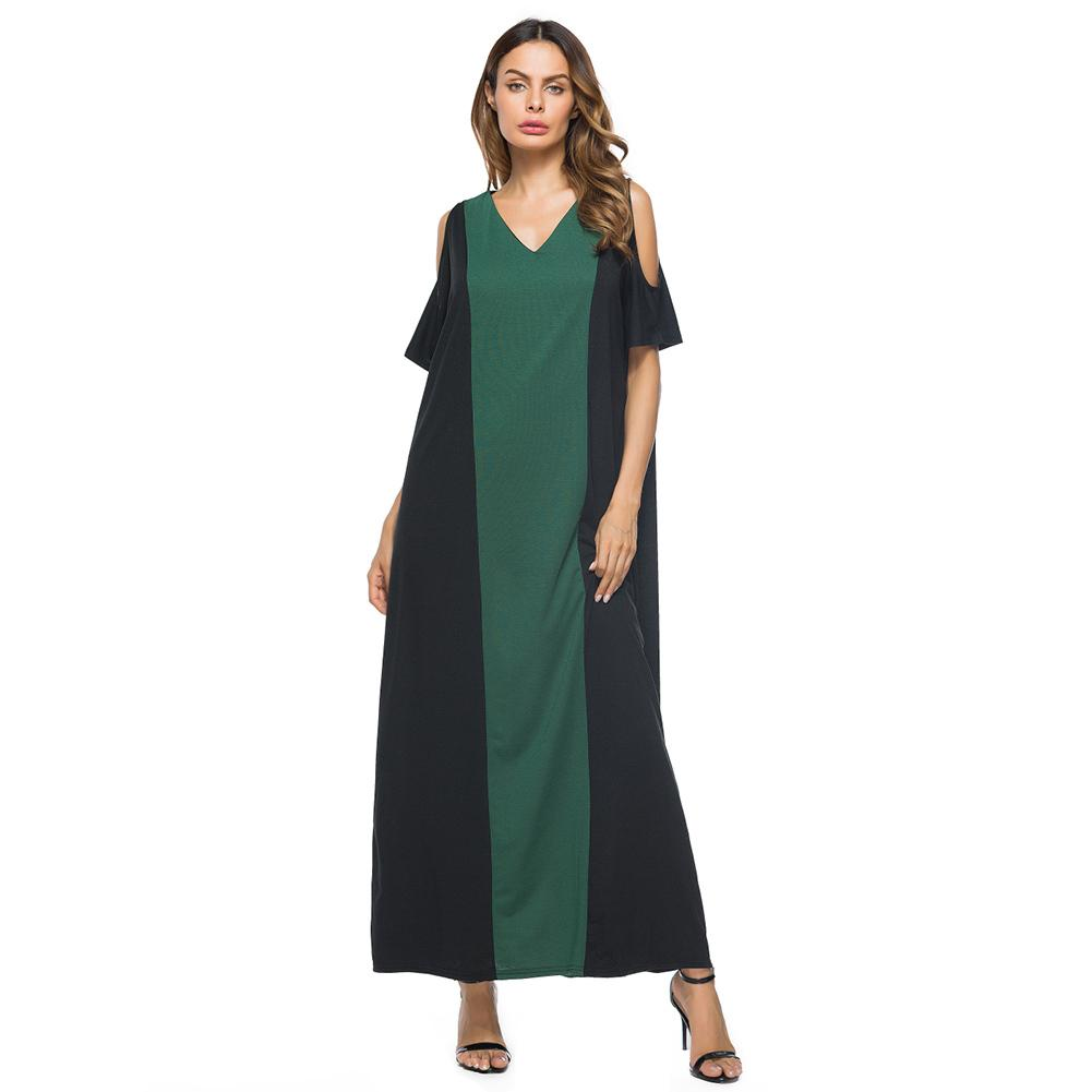Elegant Women Plus Size Maxi Dress V-Neck Short Sleeve Off the Shoulder  Long Dress Beige/Burgundy/Dark Green Summer Dress 2019