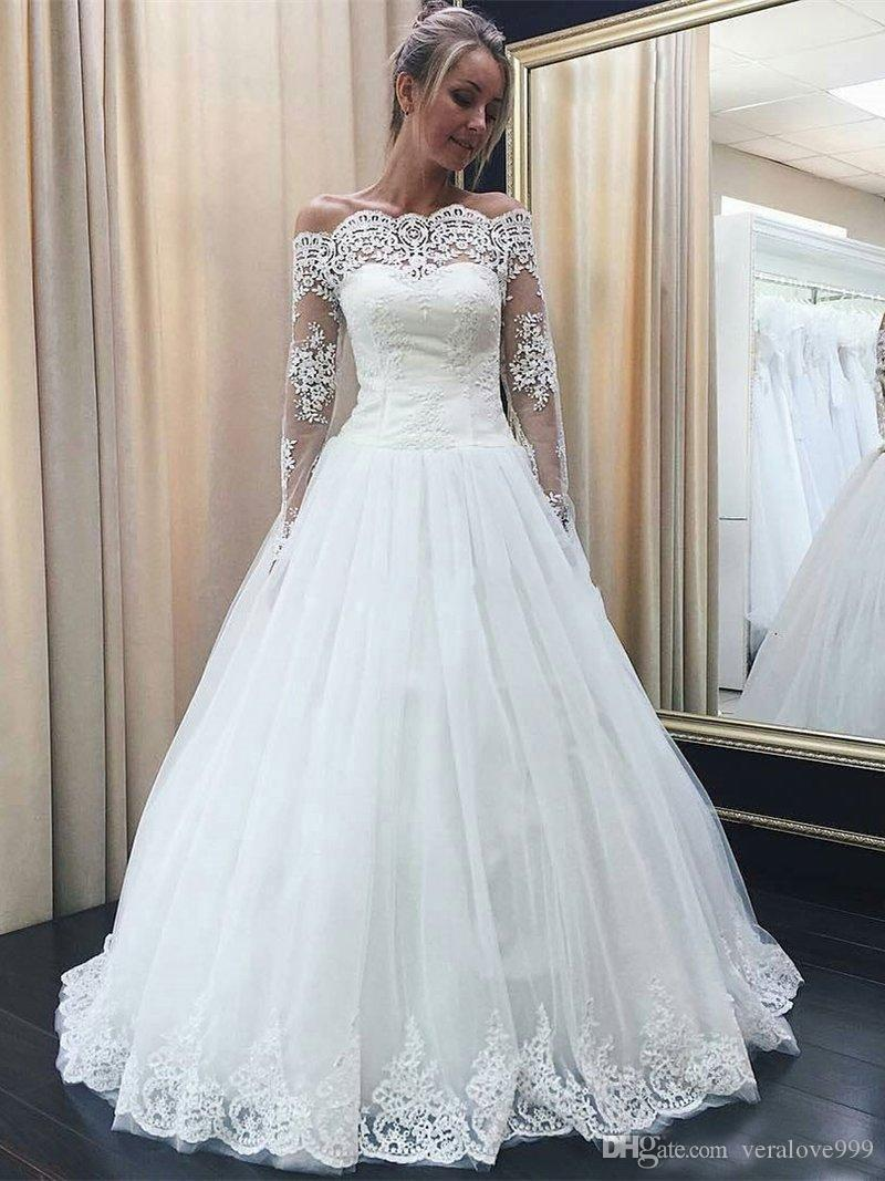 b6a36815a56 Discount Long Sleeves A Line Wedding Dresses Off Shoulder Lace Tulle  Wedding Dresses Floor Length Elegant Bridal Dress A Line Chiffon Wedding  Dress A Line ...