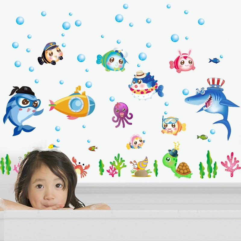 Zs Sticker 42 x 140 cm cartoon fish wall stickers bathroom home decor for kids room wall sticker