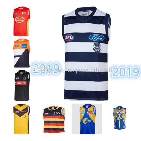 2019 TOP AFL West Coast Eagles Guernsey Adelaide Crows Collingwood Magpies Eddie Betts 300th Geelong Cats Rugby Jerseys Singlet