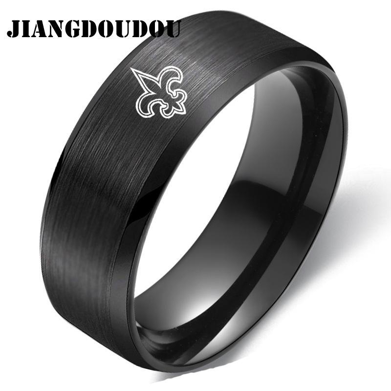 New Design 8MM Fashion New Orleans-Saints Titanium Steel Championship Rings Ladies and Gentlemen Fans Gifts Jewelry