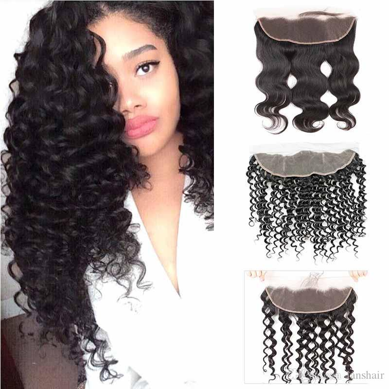 Lace Frontal Closure 13x4 Bleached Knots Body Wave Hair Weaves Brazilian Human Hair Straight Lace Frontal Closure Deep Water Wave