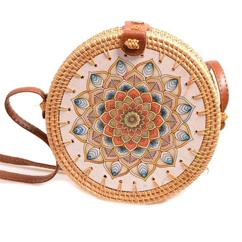 AUAU-Rattan Round Tote Basket Women Handbag Woven Rattan Bag Shoulder Bag