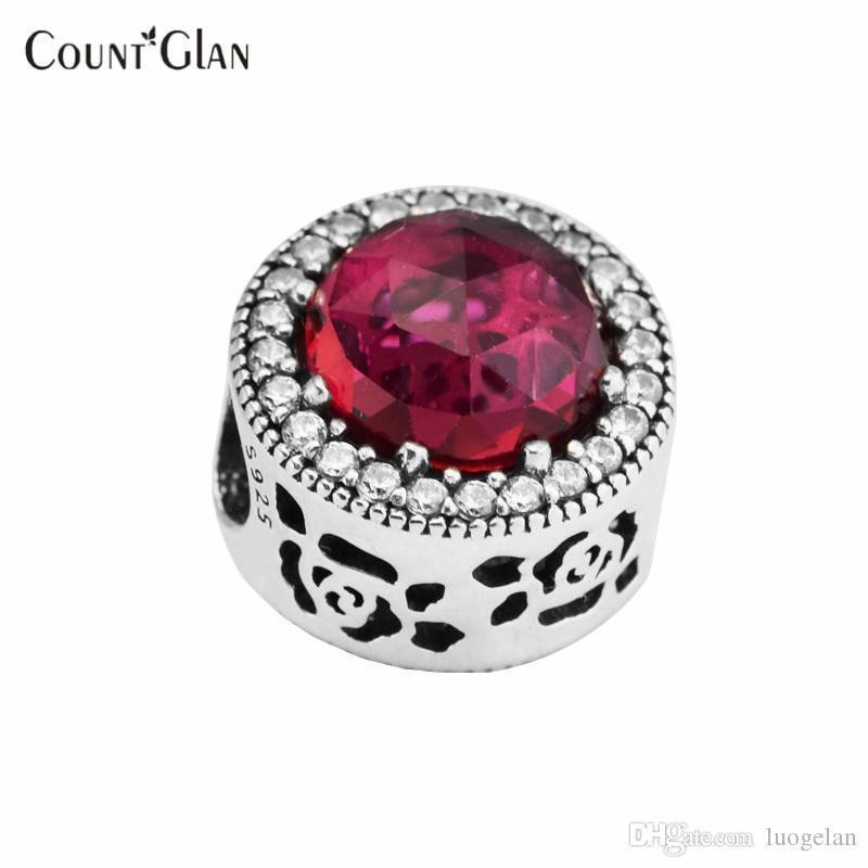 2017 Spring Belle`s Radiant Rose Flowel Charms Bead 925 Sterling Silver Cerise Crystal Beads Fit Pandora Charm Bracelets Diy