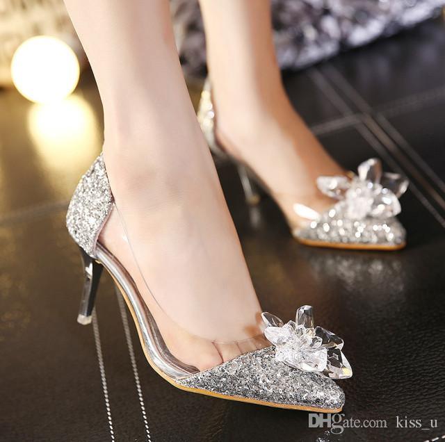 614107727 Sapato De Noiva Strass Ouro Sapatos De Salto Alto Mulheres 2019 Dedo  Apontado Toe De Cristal Sapatos De Salto Alto Bombas De Festa De Casamento  Sapatos ...