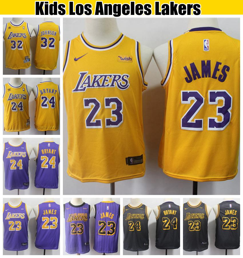 best loved 3a725 438d9 Kids Los Angeles City Laker LeBron James 23 Bryant Basketball Jersey  Vintage Magics Johnson 32 Kobe Bryant 24 Stitched Boys Jerseys