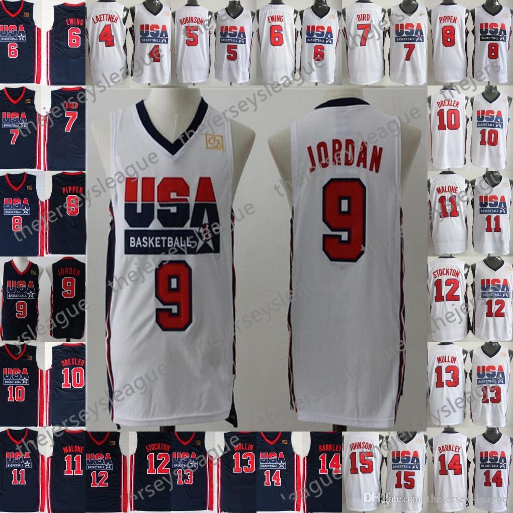 ecf734aab 2019 1992 Team USA Basketball Jerseys Dream One  4 Christian Laettner 5  David Robinson 6 Patrick Ewing 7 Larry Bird 8 Scottie Pippen From  Thejerseysleague