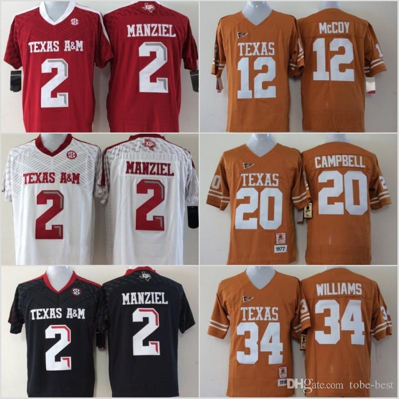 newest 7155a 7490b Youth Texas A&M Aggies 2 Johnny Manziel Jerseys Longhorns 12 Colt McCoy 20  Earl Campbell 34 Ricky Williams Black Red White Stitched