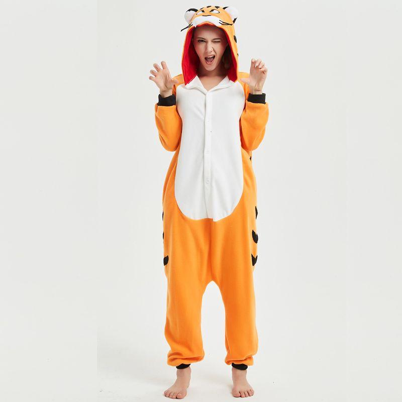 14656920d12a 2019 Soft Bengal Tiger Kigurumi Animal Adult Onesie Orange Pajamas For  Sister Women Cosplay Unisex Sleepwear Stage Halloween Costume From Home5