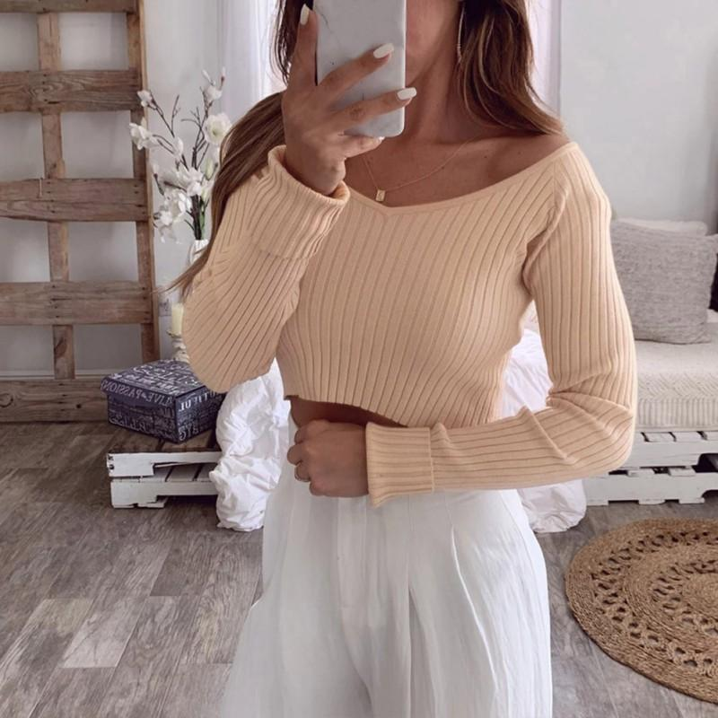 Autumn Women Solid Color Slim T-shirt Ladies Long-Sleeved Cropped Navel V Collar Slim Bottom Knit Tops 2019