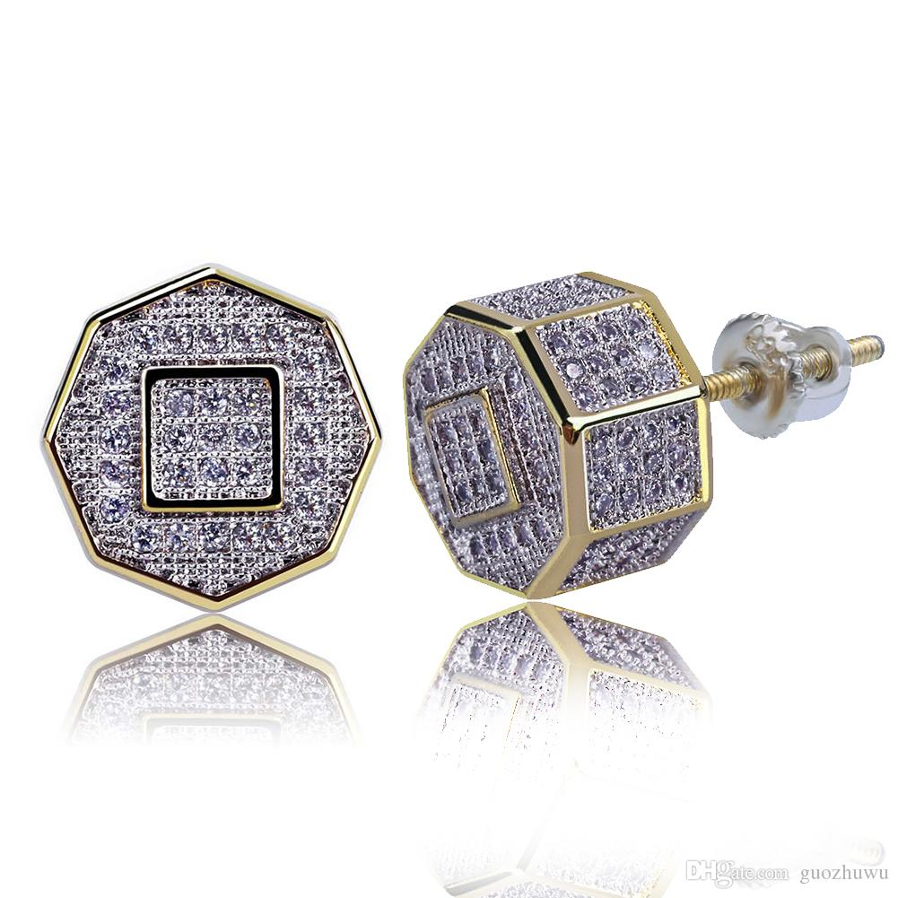 4532cc7329768 18K Real Gold Punk Rock Hip Hop Cubic Zirconia Polygon Stud Earrings for  Men Women and Girls Diamond Earrings Studs Rapper Jewelry Wholesale