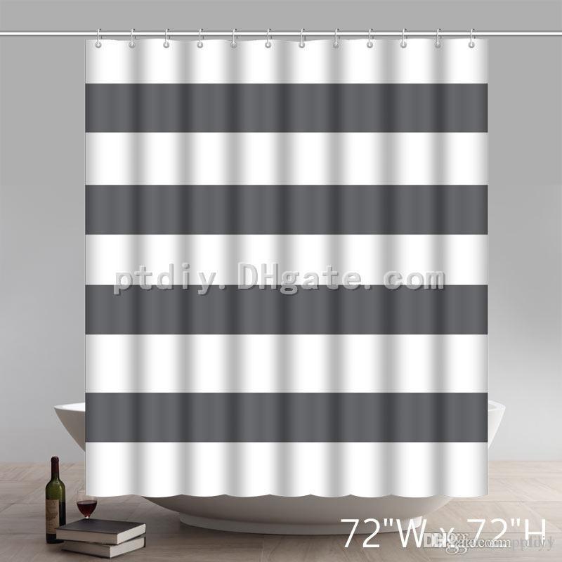 Geometric Shower Curtain Wide Stripes Fabric Black Woman Curtains Bathroom Custom Online With 3315 Piece On