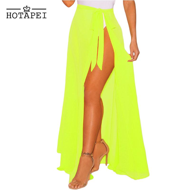 HOTAPEI sexy Bikini BeachWear Cover Up Swimsuit Black Sheer Wrap Maxi Beach Skirt LC42275 women solid Tie Cover-up Bathing Suits