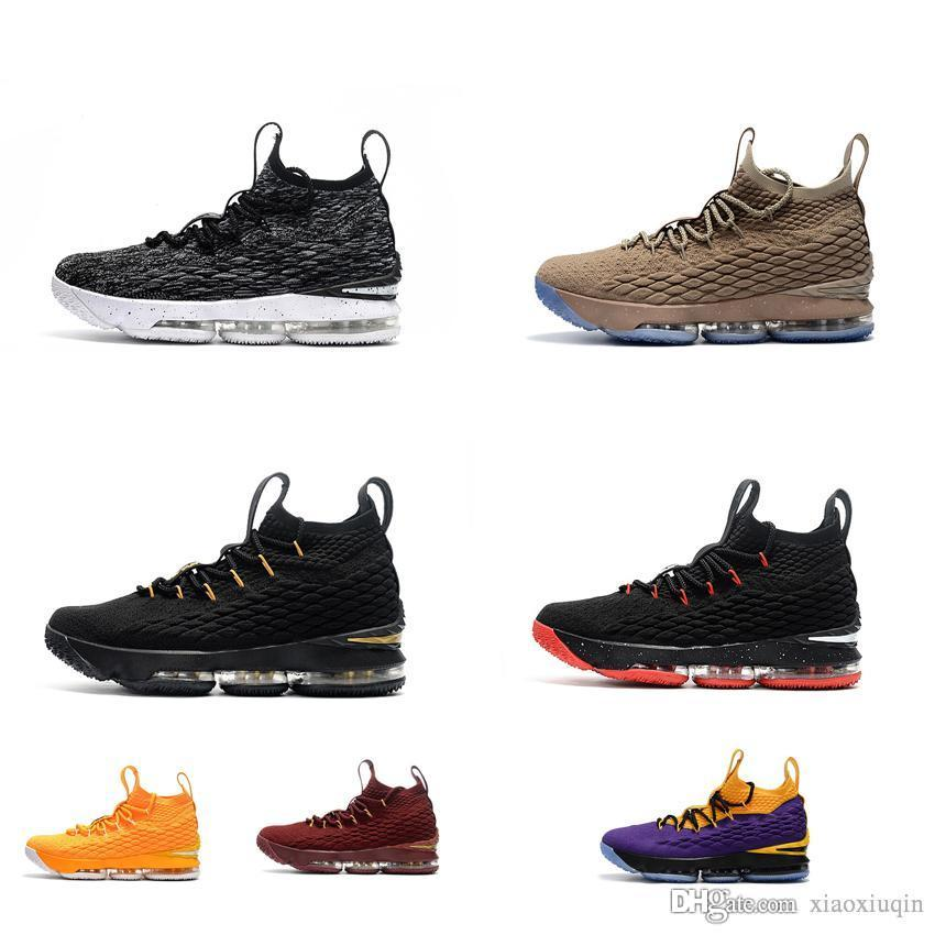 Womens Lebron 15 Basketball Shoes for Sale Black Gold Team Red ... 3665ac6444