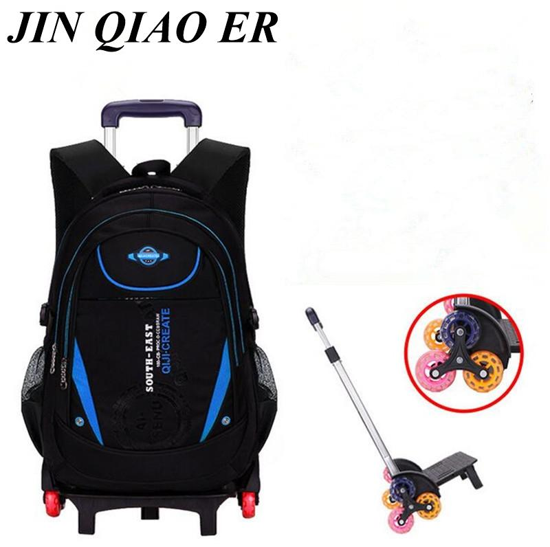 70eb435145 Kids 2 6 Wheels Rolling Backpack Removable Boys Waterproof Book Bag ...