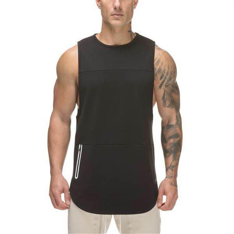 8d4c4df59e73a3 2019 Mens Extended Scoop Workout Tank Tops Gym Shirts For Men Gym ...